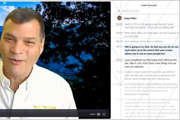 A screenshot of a video meeting chat with Dean Jorge Atiles.