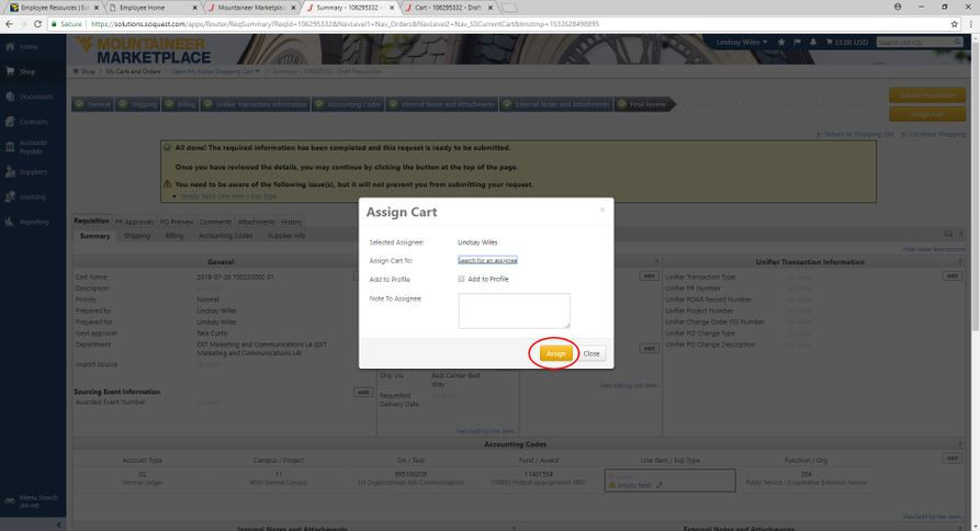 A screenshot showing the MPB Business Card Shopping Card Assignment Form, with Lindsay Wiles highlighted..