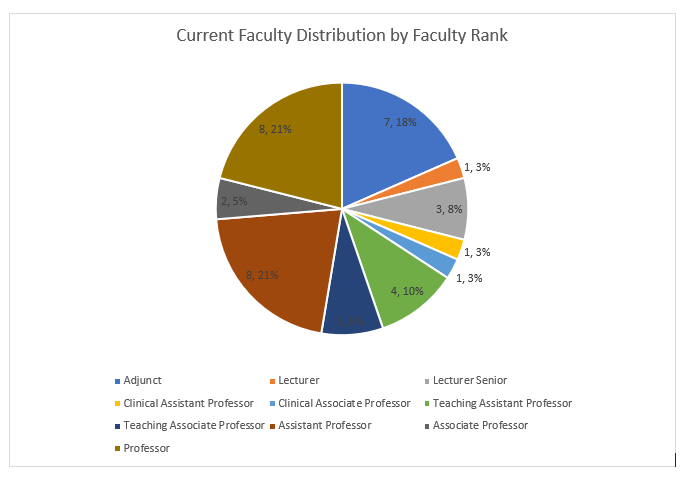 Pie chart showing count and percentage of total program faculty by rank