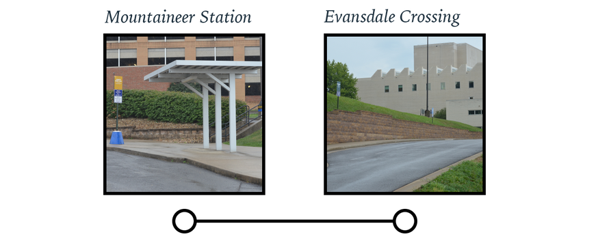 Mountaineer Station and Evansdale Crossing bus stop locations