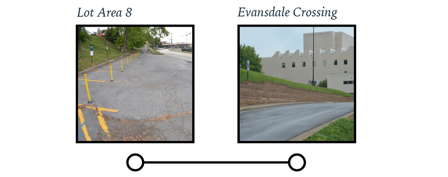 Lot Area 8 (on Beechurst Ave.) and Evansdale Crossing bus stop locations