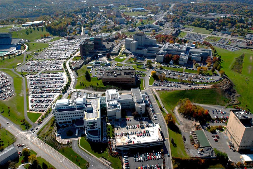 An aerial shot of the health sciences campus.