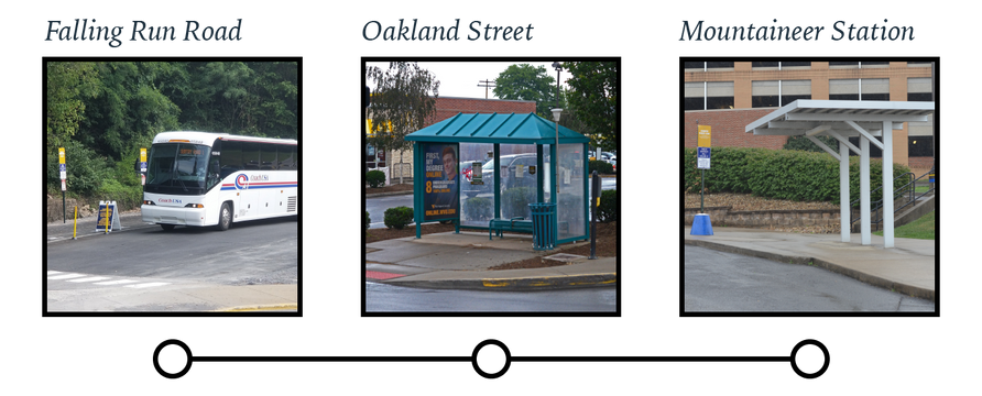 Photos of Mountaineer Station, Oakland Street and Falling Run Road bus stops