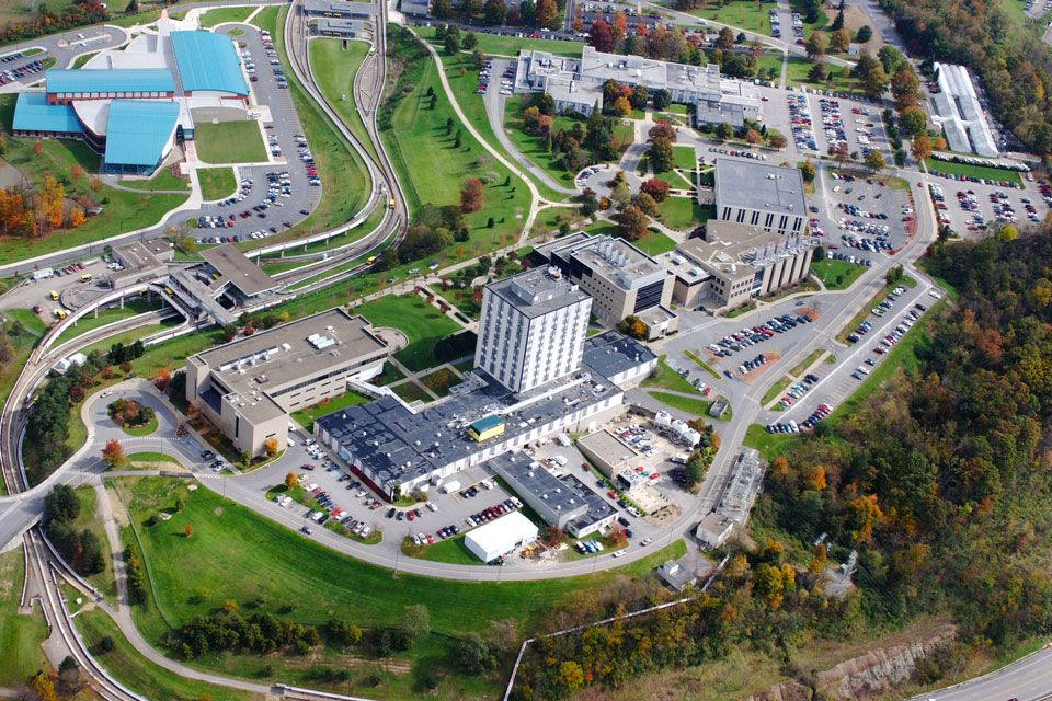 An aerial shot of the Evansdale campus.