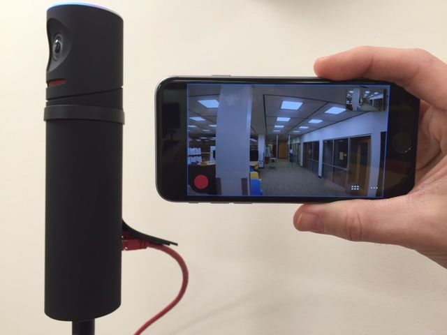 Mevo camera with the view on a smart phone
