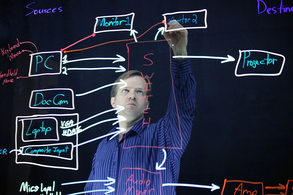 Roger Neptune drawing a diagram with fluorescent markers on a glass, with a black background.