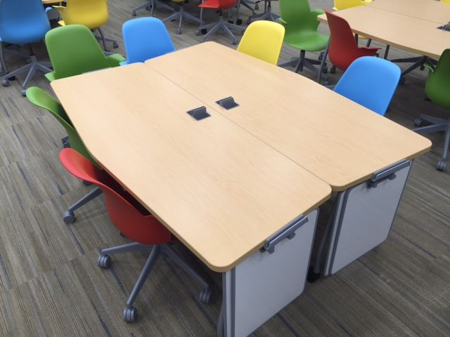 verb tables and colorful node chairs