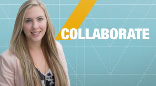 Collaborate. Photo of presenter Amber Novotny accompanies the text