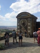 students look at historical architecture at the Medici Gardens
