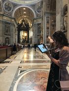 student points to features inside St. Peters