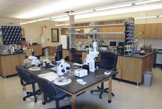 Lab space with center table