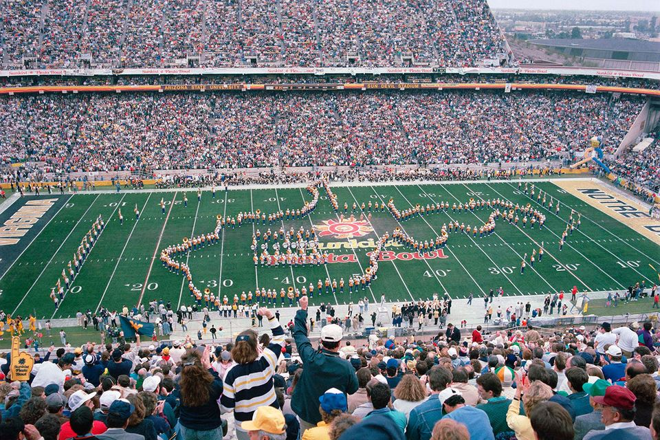 Marching band forms state outline