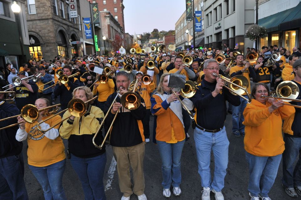 The WVU Alumni Band performing on High Street during the Homecoming Parade