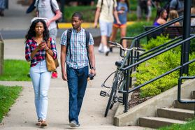 Two students walking on Downtown campus