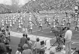 band performing on old Mountaineer Field