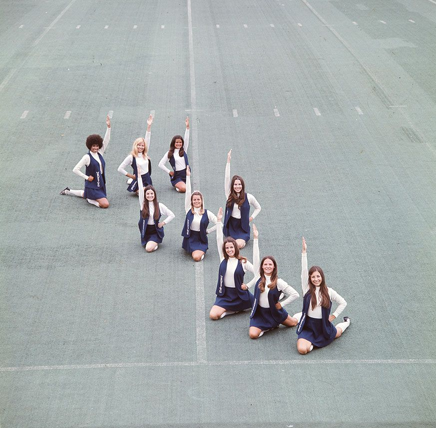 Cheerleaders group photo on Mountaineer Field