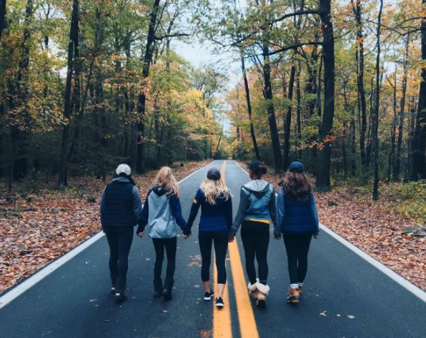 Group of students walking on a two-lane road surrounded by autumn leaves