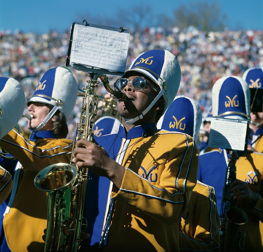 Playing saxophone in the WVU Marching Band