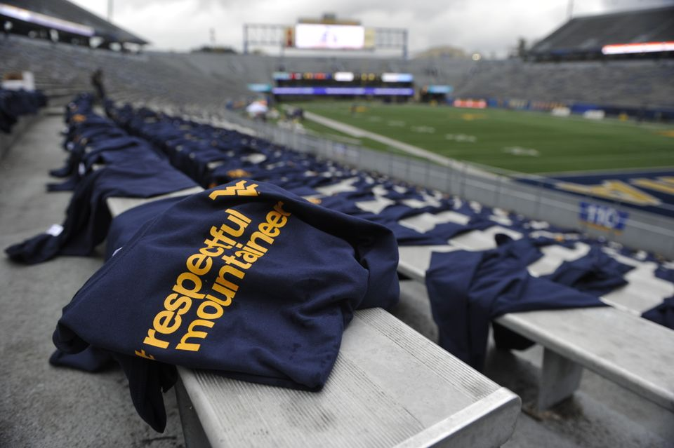 Respectful Mountaineer t-shirts placed on the bleachers of Milan Puskar Stadium
