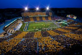Alternating gold and blue sections at Milan Puskar Stadium