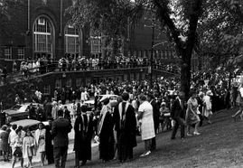 Crowd outside Stansbury Hall