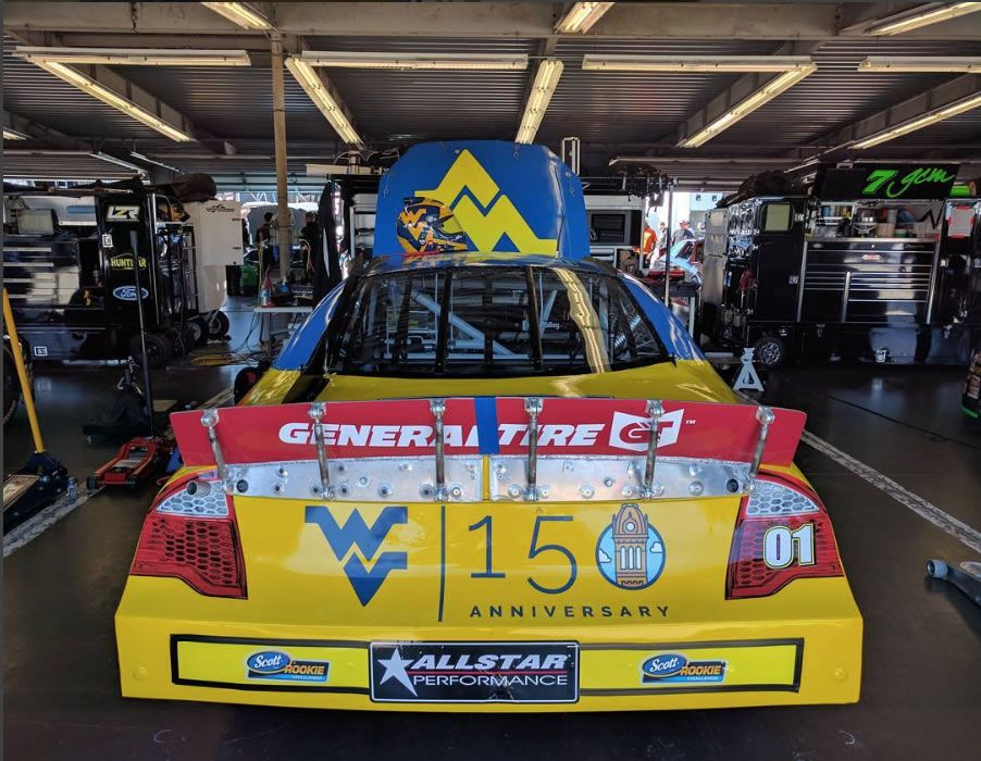 WVU 150 logo on Travis Braden's race car