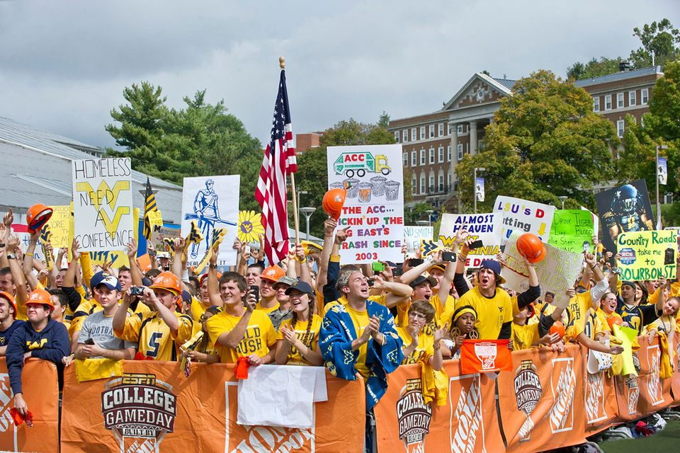 crowd with signs at ESPN College GameDay