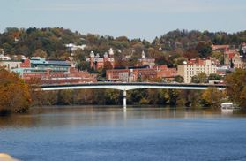 Westover Bridge and Monongahela River with campus in the background