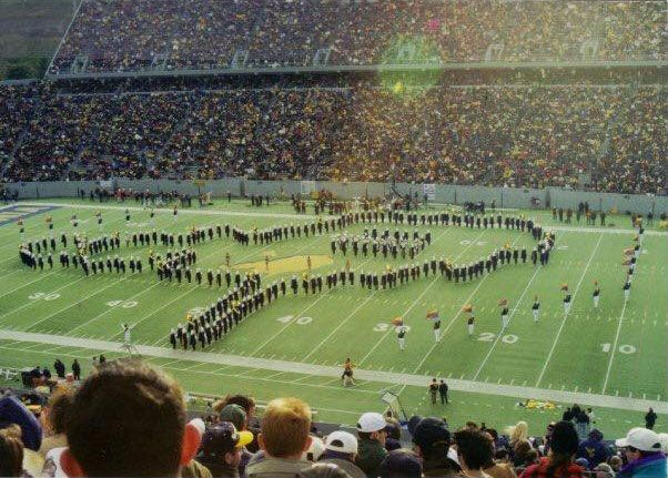 Marching band forms West Virginia state outline at Mountaineer Field