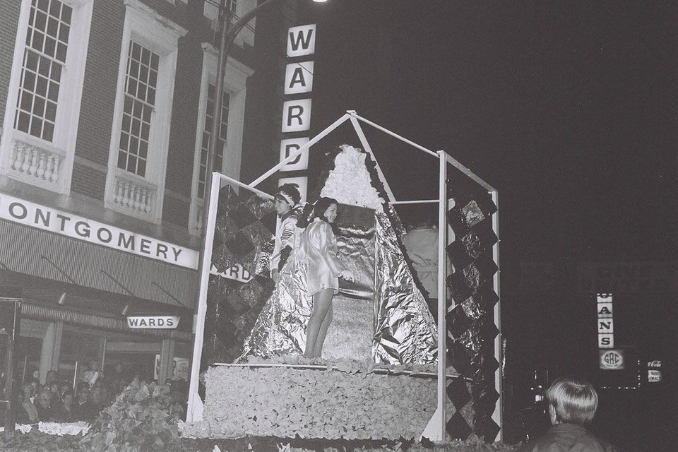 Float in 1969 homecoming parade