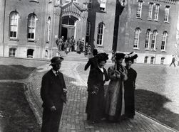 Early 1900s students walking