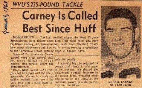 Football player Bernie Carney newspaper clippings