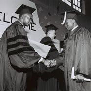 Shaking hands at 1965 Commencement