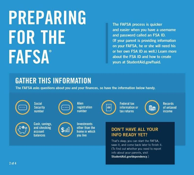 Preparing for the FAFSA: The FAFSA process is quicker and easier when you have a username and password called an FSA ID. (If your parent is providing information on your FAFSA, he or she will need his or her own FSA ID as well.) Learn more about the FSA ID and how to create yours at StudentAid.gov.fsaid. Gather this Information: The FAFSA asks questions about you and your finances, so have the information below handy: Social Security number; Alien registration number; Federal tax information or tax returns; records of untaxed income; cash; savings; and checking account balances; investments other than the home in which you live. Don't have all your Info ready yet? That's okay: you can start the FAFSA, save it, and come back later to finish it. (To find out whether you need to report info about your parents, visit StudentAid.gov/dependency