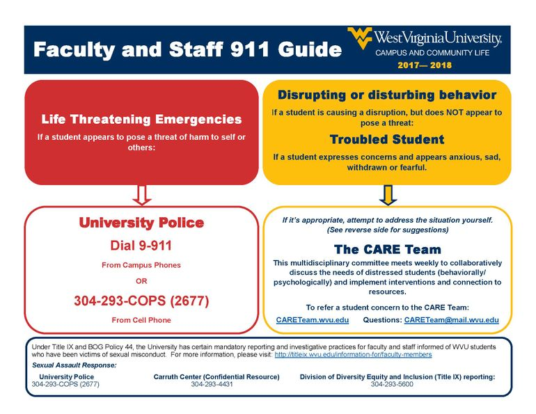 Faculty and Staff 911 Guide Page 1