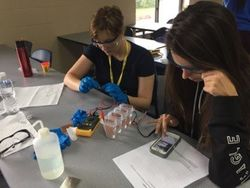 Students work on a project in the chemical engineering class.