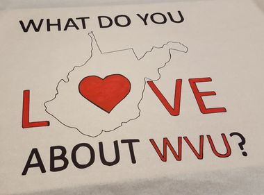 Poster with State of WV and Words What do you Love about WVU?