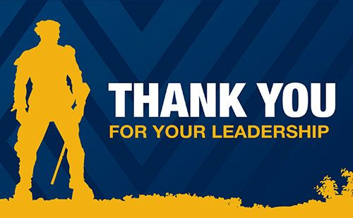"Mountaineer Silhouette with the words "" Thank You for your Leadership."""