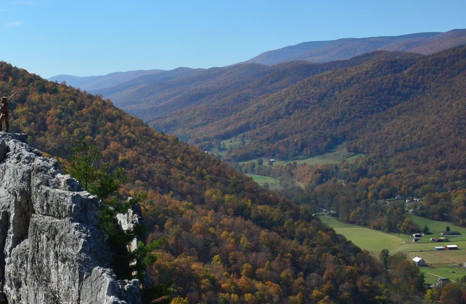 An image of the West Virginia hills from Seneca Rock, displaying fall foliage.