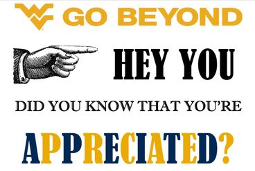 Go beyond Logo.  Followed by test that reads, hey you did you know that you're appreciated?  Image of a hand pointing to the words hey you.