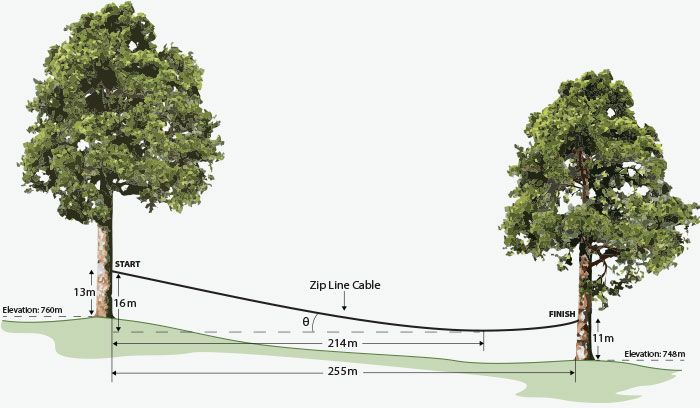Zip line diagram. This example shows a 255 meter zip line that is hung between two trees. The launch platform is 16 meters high and the landing platform is 11 meters high. The vertical drop from the launch point to the lowest point on the line is 16 meters and the horizontal distance is 214 meters.