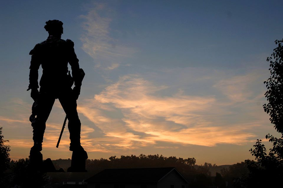 Mountaineer statue overlooks the natural scenery in West Virginia