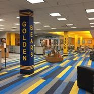 library space with Golden Bears painted on pillar in foreground