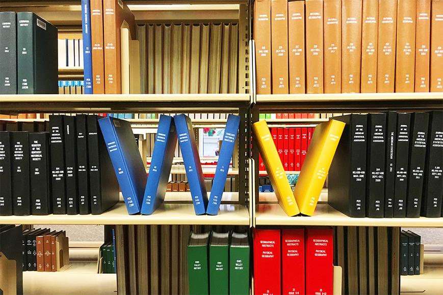 books slanted to form letters W and V in blue and yellow