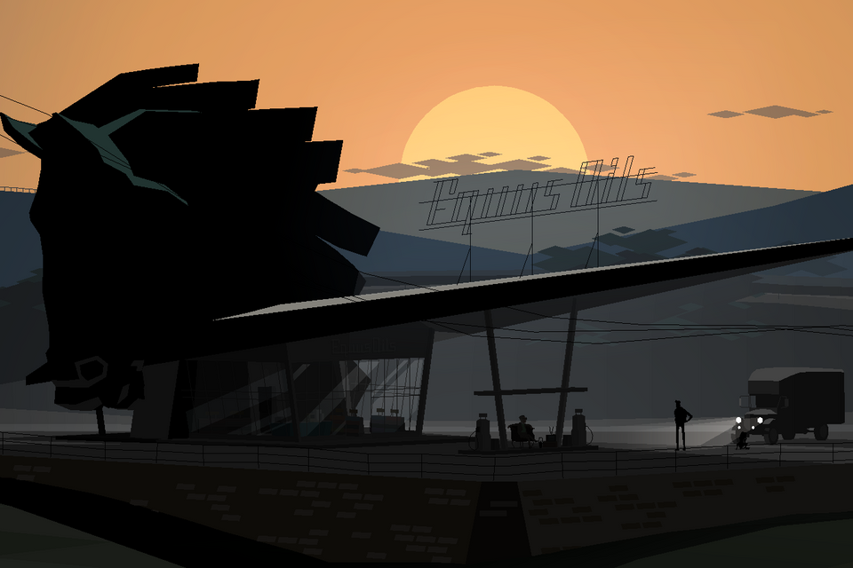 Graphic image of contemporarily designed gas station with a large horse head adorning the roof, in an angled-hilly environment at sunset. One silhouette figure and truck are placed near the station.