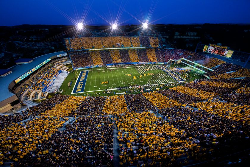 stadium at night striped blue and gold