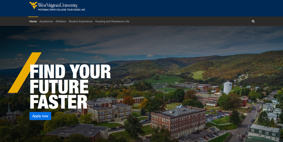 A preview of a Tour Guide Live session of WVU Potomac State College