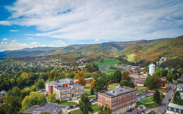 Aerial shot of WVU Potomac State College Campus