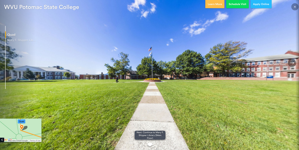 Preview of a virtual tour of WVU Potomac State College