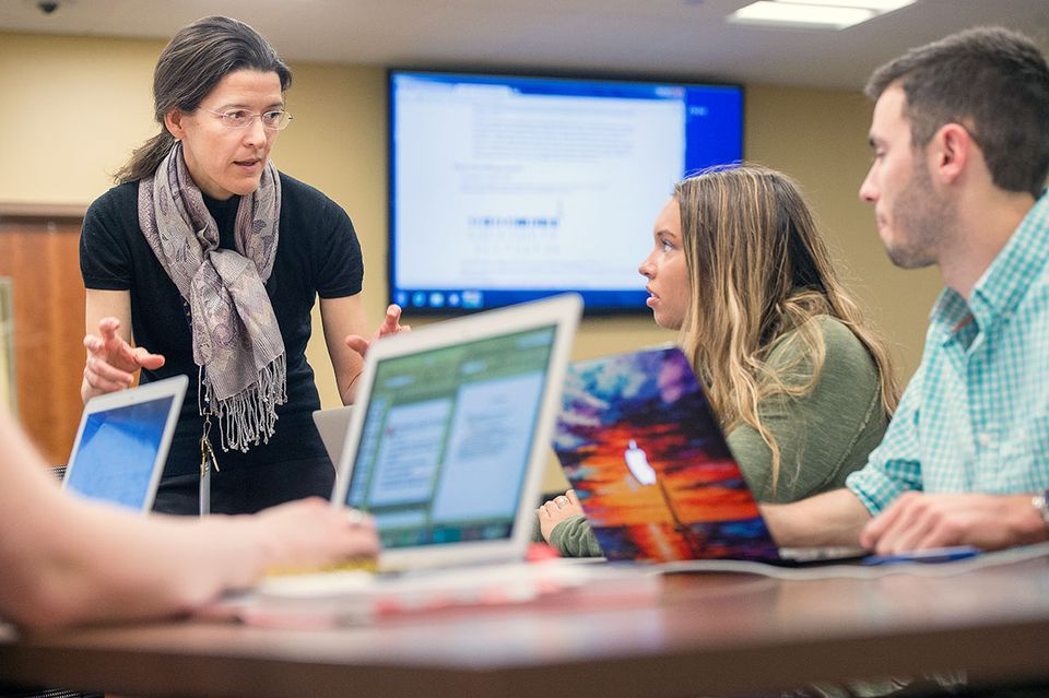 WVU faculty member works with students